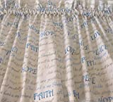 Valance White with Blue Gray Silver Scripture Christian Words Promises Topper Window Treatment For Sale