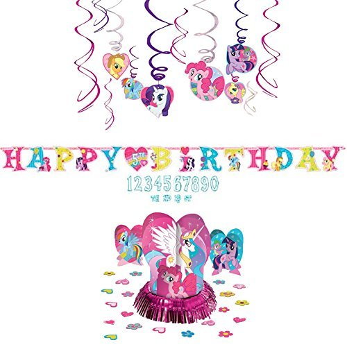 Cedar Crate Market My Little Pony Decoration Party Supplies Pack - Hanging Swirls, Jumbo Letter Banner, and Table Decorating Kit