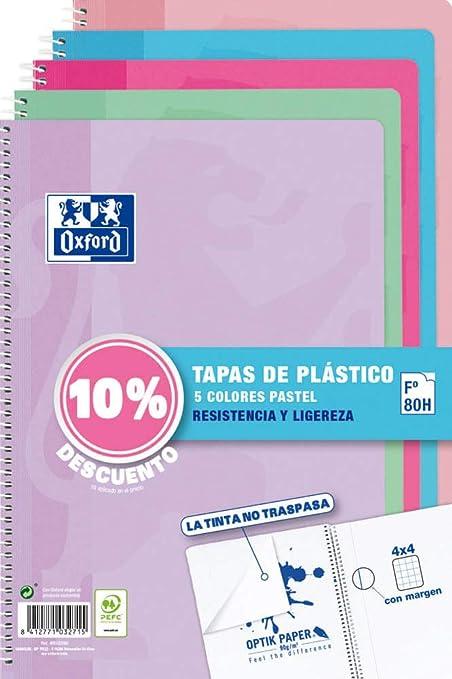 Pack de 5 Cuadernos Oxford Cuadriculados Tapa de Plástico: Amazon.es: Oficina y papelería
