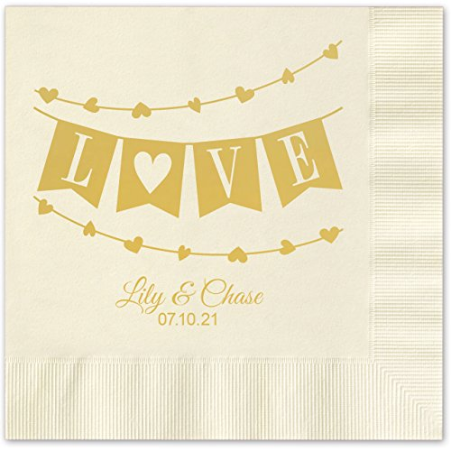 Banner Love Personalized Beverage Cocktail Napkins - 100 Custom Printed EcruPaper Napkins with choice of foil by Canopy Street (Image #1)'
