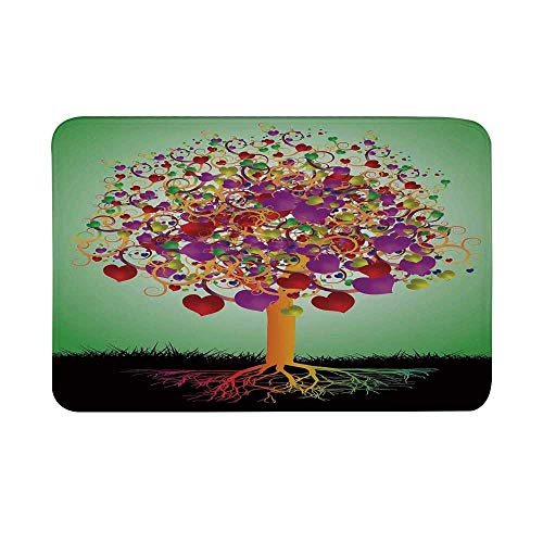 Tree of Life Non Slip Door Mat,Colorful Magic Love Tree with Blossomed Heart and Round Leaves and Roots Life Decorative Floor Mat for Bathroom Living Room,23