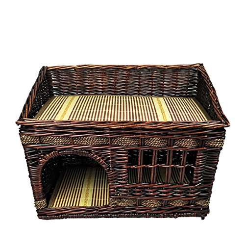 Layboo Handmade Square 2 Level Rattan Wicker Pet(Small Dog/Cat /Rabbit) Cat Delivery Room/House Tent with Cushion (Coffee Color) For Sale