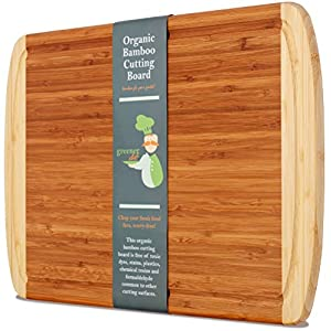 Professional-Grade Extra Large Organic Bamboo Cutting Board - NEW CRACK-FREE DESIGN & LIFETIME REPLACEMENTS - Best Wood Cutting Boards for Kitchen & Chopping Board w/Juice Groove for Meat & Fruits