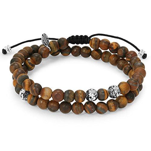 Mens Bracelet – 2 Layer Bracelet with Brown Nature Matte Tigereye Beads & 925 Sterling Silver Plated Beads – Handmade by Ebb & Flow Jewelry Unique Bracelet for Boyfriend, Dad, (Sterling Tigers Eye Bead Bracelet)