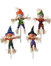 "4 Pack Halloween Scarecrow, 15.7"" Halloween Ghost Scarecrow Decorations, Autumn Harvest Decor Thanksgiving Scarecrow Decoration for Home, Garden, Yard, Porch, Outdoor"
