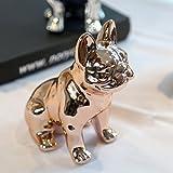 Eastyle Dog Piggy Banks Electroplate Bulldog Toy Bank (Rose Gold)