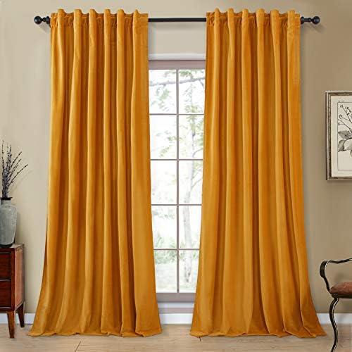 Topfinel Room Darkening Velvet Curtains 96 Inches Long Rod Pocket Back Tab Drape