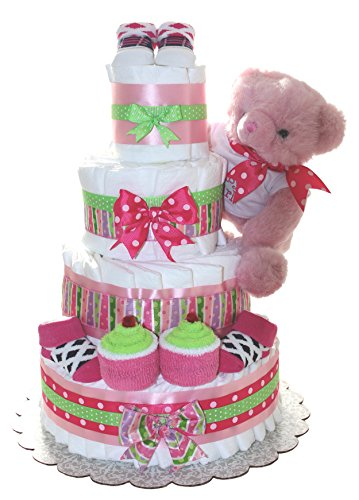 Pink Teddy Bear Diaper Cake For Girl Or Boy 4Tier - Unique Baby Gift For Baby Shower - Practical Newborn Present For Mom - To - Be (Pink) by QBabyShowering