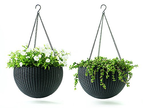 Keter Dia 13.9 in. Round Plastic Resin Garden Plant Hanging Planters Decor Pots 2 pc, Brown (4) by Keter*