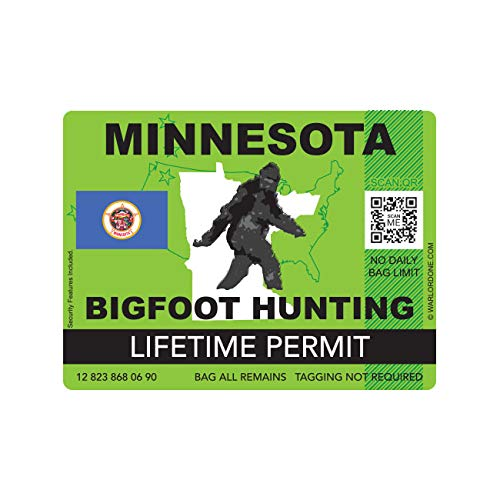 fagraphix Minnesota Bigfoot Hunting Permit Sticker Die Cut Decal Sasquatch Lifetime FA Vinyl - 4.00 Wide