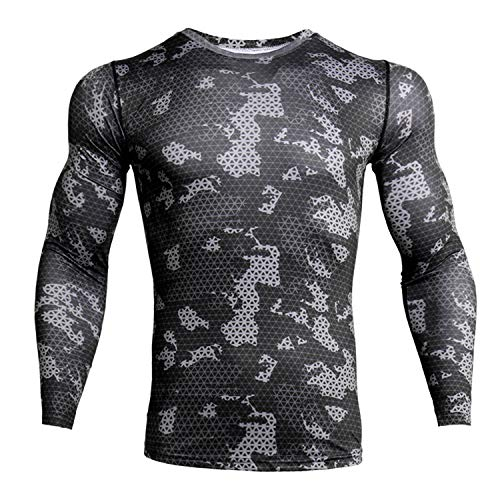 - ZHPUAT Men's Sports Running Camo Quick-Drying Compression Long Sleeve T-Shirt-Grey Grid-L