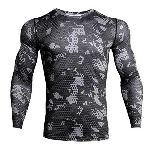 ZHPUAT Men's Sports Running Camo Quick-Drying Compression Long Sleeve T-Shirt-Grey Grid-L