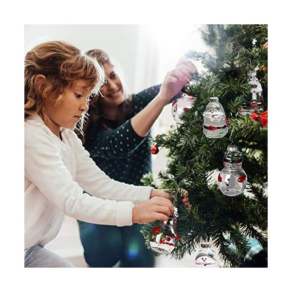 Palle di Natale Plastica (Set da 12)- Palline di Natale Trasparenti Forma Babbo Natale e Pupazzo Neve, 4 Cadauno per Decorazioni Natalizie, Addobbi per Feste di Compleanno, Addobbi Natalizi per Albero 6 spesavip