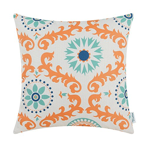 CaliTime Canvas Throw Pillow Cover Case for Couch Sofa Home Decor, Three-tone Dahlia Floral Compass Geometric, 18 X 18 Inches, Orange / Duck Egg / Light (Duck Egg Cushions)