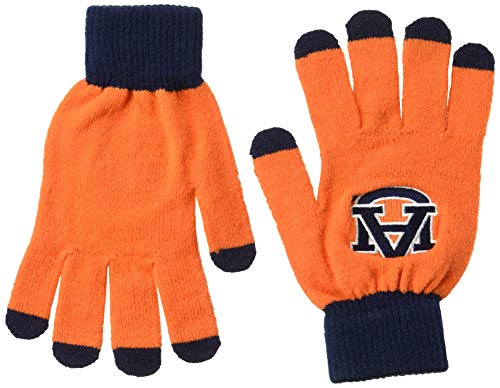 比較表面フォーカスNCAA Auburn Tigersソリッドニット手袋、ブルー、1サイズ