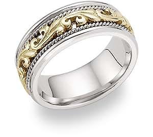 Amazon Com 14k Two Tone Gold Paisley Wedding Band Jewelry