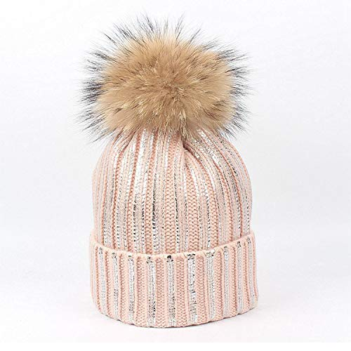 (AIBAB Hairball,Stripe,Knitted Hat,Autumn and Winter,Outdoor,Thicken,Crimping,Wool, Bubble Cap,Beanie)