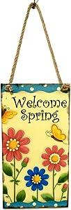 Soochat Easter Plaque Wooden Hanging Plaque Welcome Spring Hanging Plaque Festival Wall Door Sign Home Decoration