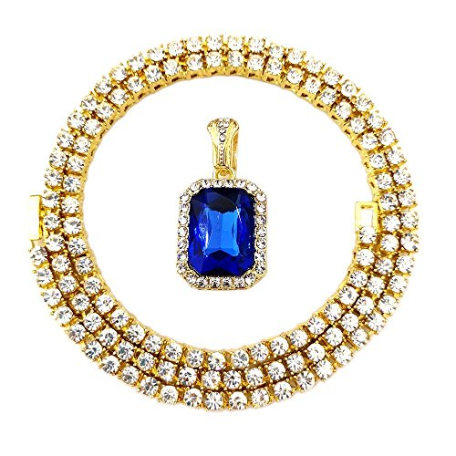 (HH Bling Empire Mens Celebrity Style Hip Hop Gold Synthetic Ruby Emerald Sapphire Pendant Necklace (3mm Tennis &Lab Sapphire))
