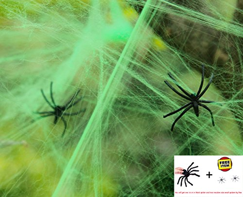 Halloween Decoration Spider Webs Webbing with Spiders from Ocharzy (Green) -