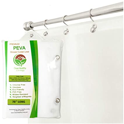 Clean Healthy Living Heavy Duty Extra Long PEVA Shower Liner Curtain Odorless Mildew