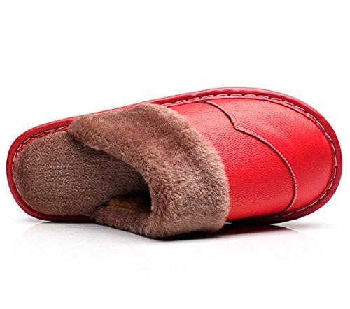 Haisum Vinter Äkta Läder Tofflor För Kvinnor, Fuskpäls Foder Stängd Tå Hus Skor Inomhus Utomhus Red (8832)