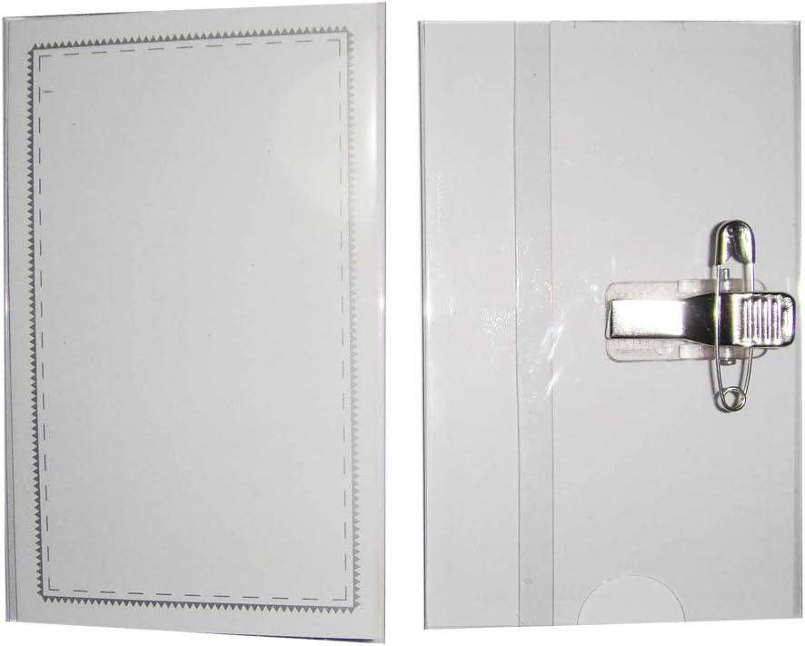 50 St/ück 90 x 56 mm Meaor Namensschild-Halter Kunststoff transparent Namensschilder mit Halterclip und Nadel hochwertig