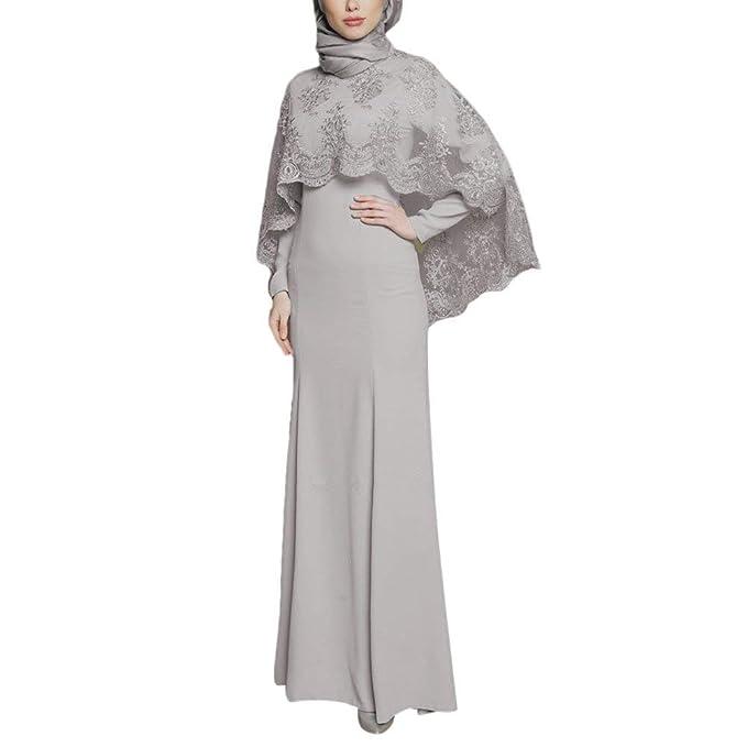 Somoll Vestido Largo de Las Mujeres de los Musulmanes Kaftan Caftan Bordado Viste el Vestido de Las Batas de Abaya: Amazon.es: Ropa y accesorios