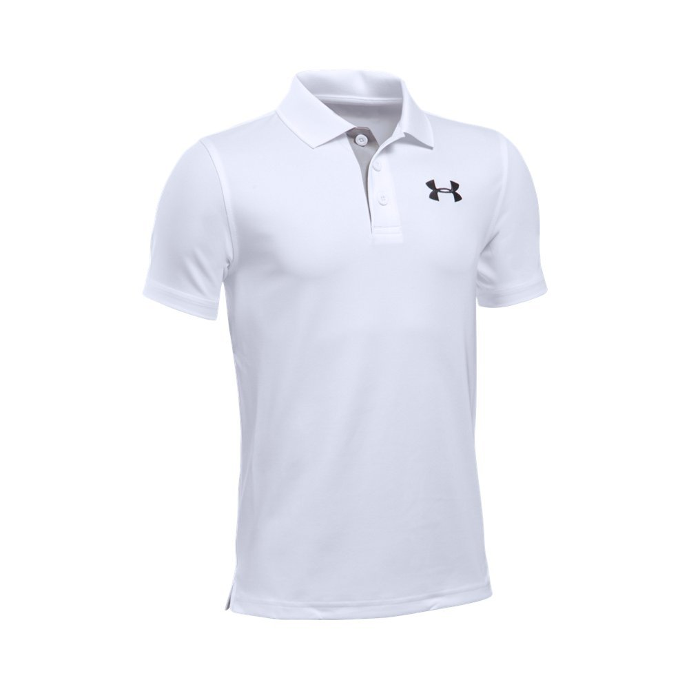 Under Armour Boys' Match Play Polo, White /Black, Youth Small by Under Armour