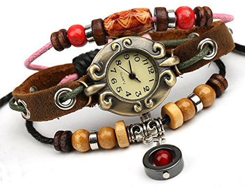 Bohemian Style Multistrand Beaded Wrist Watch Bracelet Steampunk (Beaded Watch Bracelet)