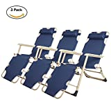 Lucky Tree 3 Pack Portable Chaise Lounge Chair Pool Camping Seating Chair Flat Floding Cot Recliner for Outdoor Indoor