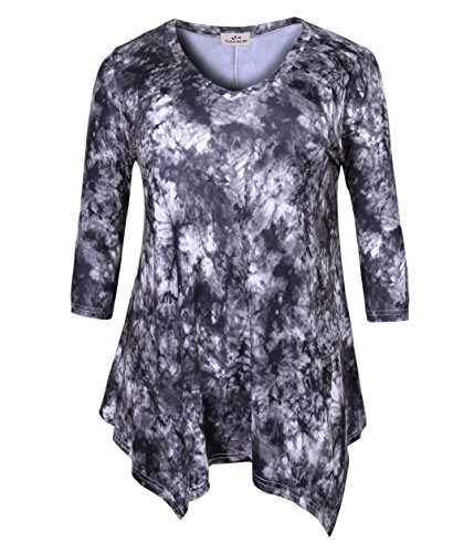ZERDOCEAN Women's Plus Size Printed 3/4 Sleeve Tunic Top Loose Shirt Style-053 2X - Woman Printed Knit Top
