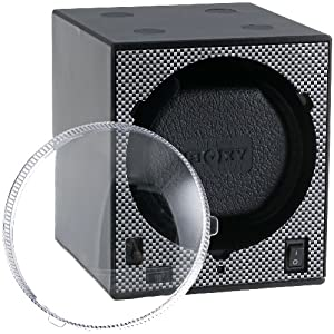 Diplomat Boxy Programmed Carbon Fiber Add-On System without Adapter Single Brick Stackable Watch Winder