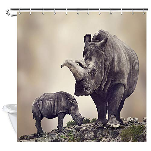 NYMB Africa Safari Animal Decor Rhino Rhinoceros Shower Curtain, Tropical African Wildlife Animals Shower Curtains, Polyester Fabric Bathroom Fantastic Decorations Bath Curtains Hooks Included,69X70in