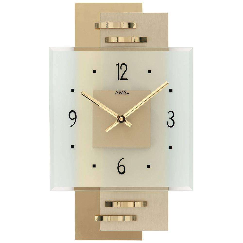 AMS Wand Uhr Wanduhr Quarz Holzrückwand mit Messing-Applikationen Mineralglas Mineralglas Mineralglas 3d1d9f