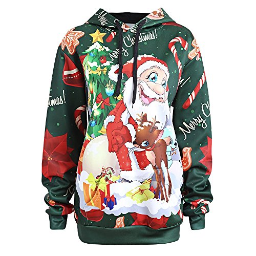 Christmas Ugly Plus Size Long Sleeve Snowman/Santa Claus/Elk/Snowflake Print Hoodie With Kangaroo Pocket,Green,5XL