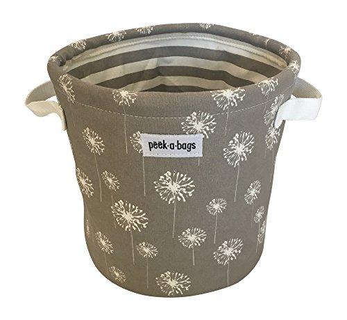 Peek-a-Bags Canvas Toy Storage Bin Perfect for Books, Stuffed Animals, Nursery storage organization & Organization of Playrooms, Shelves, Kid's rooms & Closets. (Gray Dandelion Puffs) (Large Storage Bin Dot)