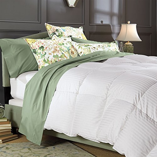 1200 Thread Count California King Size Goose Down Comforter 100% Egyptian Cotton 1200 TC - 750FP - 50Oz - Stripe White