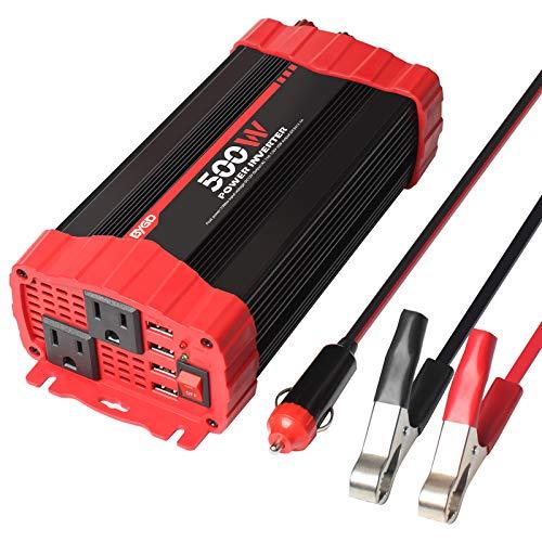 BYGD 500W Car Power Inverter DC 12V to 110V AC Converter Dual 500W, Red