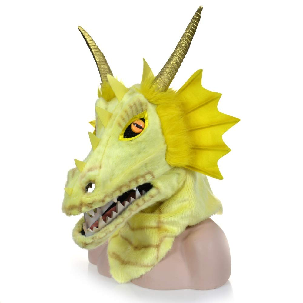 KX-QIN Halloween Carnival Animal Cosplay Party Grey Dragon Head Moving Mouth Animal mask Deluxe Novelty Halloween Costume Party Latex Animal Head Mask for Adults and Kids (Color : Yellow) by KX-QIN
