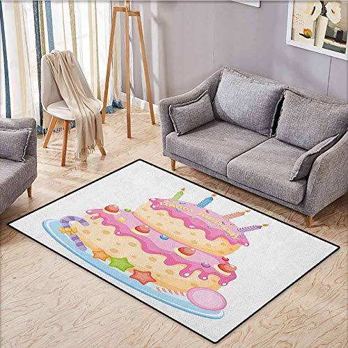 Pet Rug,Kids Birthday,Pastel Colored Birthday Party Cake with Candles and Candies Celebration Image,Ideal Gift for Children,4'7