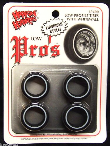 4 Low Pros Profile Whitewall Tires (for Hobby Model Kits) 1/24 1/25 scale (Model Pro Hobby)