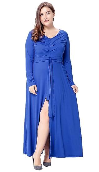 fda8857afc Bigood Women Plus Size V neck Long Sleeve Split Knitted Maxi Dress Blue   Amazon.co.uk  Clothing