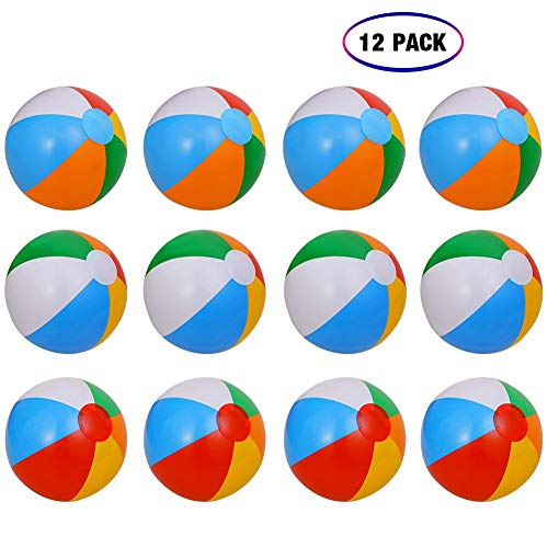 Geefia Inflatable Beach Balls, 12 Pcs Inflatable 6-Color Traditional Beach Balls Pool Party Toys Birthday Favors for Adults and Kids Summer Party Swimming Beach Holiday ()
