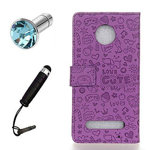 Lusee® PU Caso de cuero sintético Funda para Motorola Moto Z2 Cubierta con funda de silicona botón pequeña bruja lilac pequeña bruja lilac