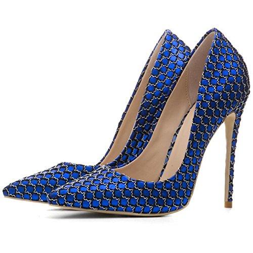42 8 eur36uk354 Pie Señoras Nvxie Eur Corte uk 5 Estilete Dedo Del Zapatillas Vestir Alto Zapatos Blue Mujeres Tacón Puntiagudo Negro Fiesta 1ax1qUn
