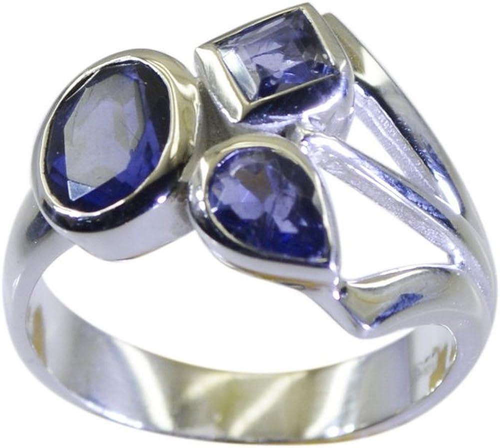 Iolite Gemstone Bezel Style 925 Sterling Silver Ring 6.5 US