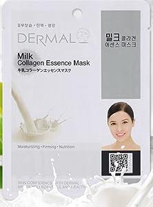DERMAL Milk Collagen Essence Facial Mask Sheet 23g Pack of 10 - Skin Soft & Elastic, Nourishing and Moisturizing, Daily Skin Treatment Solution Sheet Mask
