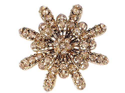 (Alilang Topaz Yellow Crystal Rhinestone Golden Tone Floral Sun Star Flower Wedding Prom Brooch Pin)