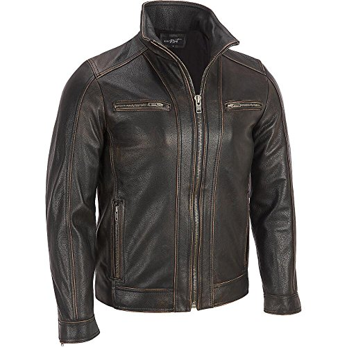 (Black Rivet Mens Leather Faded-Seam Cycle Jacket)